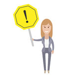 Office girl with a warning sign Royalty Free Stock Images