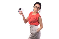 Office girl with white placard in hand in glasses Stock Photography