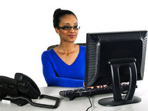 Office girl working on a computer Royalty Free Stock Photos