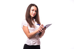 Office girl write on blank. On white Royalty Free Stock Photography