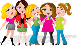 Office Girls. Group of five ladies having a coffee break at work Royalty Free Stock Photography