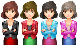 Office girls in different uniforms Royalty Free Stock Photos