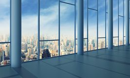 Office with glass wall and sunset Royalty Free Stock Photos
