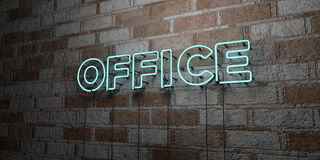 OFFICE - Glowing Neon Sign on stonework wall - 3D rendered royalty free stock illustration Stock Photos