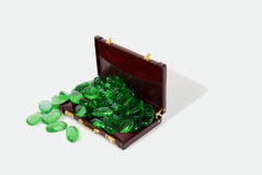 Office Going Green. Going green to help preserve our natural resources and burgandy leather Briefcase used to carry items to the office Stock Image