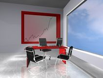 Office with graphic. 3d rendering office red style Royalty Free Stock Image