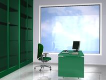 Office green. 3d rendering office work place green style Stock Photography