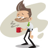 Office guy with coffee. Sleepy young office guy in shirt and tie with a mug of hot coffee Royalty Free Stock Photos
