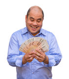 An office guy holding pile of Thai banknotes with  Royalty Free Stock Image