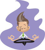 Office guy meditating. Young office guy in shirt and tie tdoing yoga, meditating Royalty Free Stock Photography