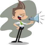 Office guy with megaphone Royalty Free Stock Images