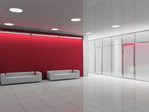 Office hall. Modern interior of the ofiice hall 3D Stock Photography
