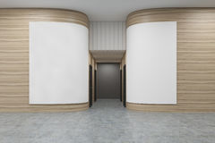 Office hall with rounded wooden walls. There are two white posters on them. Rows of doors are leading to an elevator. 3d rendering. Mock up Royalty Free Stock Photos