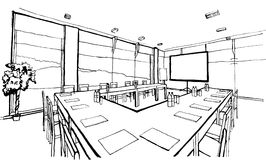 Office, hand drawing, inc stock illustration