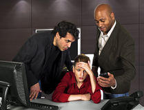 Office Harassment. Workplace problems for workers.  office harassment Stock Photos