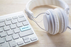 office headphones and white keyboard Stock Photos