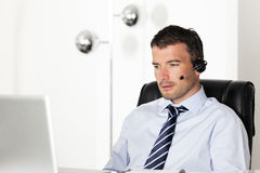 Office headset man Royalty Free Stock Photos
