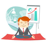Office hipster man doing yoga pose lotus (meditating) near his w Stock Images