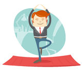 Office hipster man practicing tree yoga pose near his workplace. Vector illustration Office hipster man practicing tree yoga pose near his workplace Stock Image