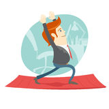 Office hipster man practicing warrior yoga pose near his workpla Royalty Free Stock Photos
