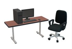 A office and home computer set, a chair and a table stock photo