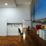 Office in the home new interior with wooden floor and table and Royalty Free Stock Photo