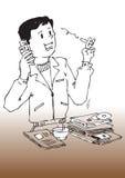 Office_on Home o telefone ilustração royalty free
