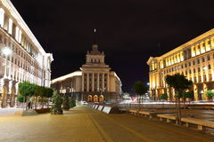 Office house of the National Assembly. Of Bulgaria by night royalty free stock images