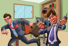 Office in a hurry. Two workers very upset, one talking in so many phones another in a hurry royalty free illustration