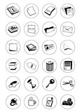 Office icon. 24 black office icons set on white Stock Images