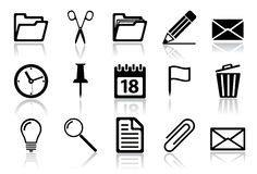 Office icon set. Vector illustration of different interface web icons Stock Images