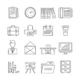 Office Icon Set. With elements of workspace  and in line style vector illustration Stock Photography