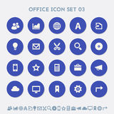 Office 3 icon set. Material circle buttons Royalty Free Stock Photo