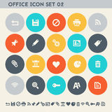 Office 2 icon set. Multicolored flat buttons Royalty Free Stock Photography