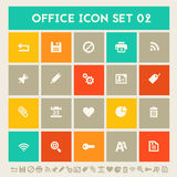 Office 2  icon set. Multicolored square flat buttons Royalty Free Stock Photography