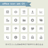 Office 1 icon set. Simple flat buttons Royalty Free Stock Photography