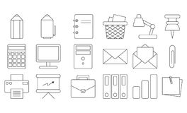 Office icon set. Thin line design Editable. Stationery. Vector outline icons. Isolated. White background. EPS10 Stock Photo