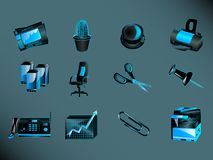Office icons. Set of twelve different icons associated with modern office, isolated on dark background Royalty Free Stock Photo