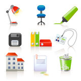 Office icons. Set of 9 colorful office icons stock illustration