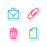 Office Icons. Illustration of Office Icons on White Background Royalty Free Stock Photo