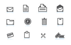 Office icons. Simple office icons with reflection Stock Photo