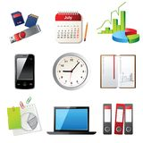 Office icons. 9 highly detailed office icons Royalty Free Stock Image