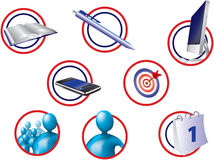 Office-icons. Different computer illustrated office icons Royalty Free Stock Photos