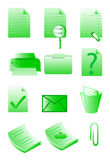 Office icons. A  set of envoronment friendly office icons in green Stock Photos