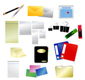 Office Icons. Office icon illustrations of paper, envelope, clip, marker, calendar, pen, folder, binder, notes, address book Royalty Free Stock Image
