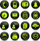 Office icons. Miscellaneous office and communication vector icons, green-and-black style Stock Image