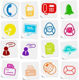 Office icons. Miscellaneous office and communication vector icons, sticker style Royalty Free Stock Photography