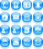 Office icons. Miscellaneous office and communication vector icons, aqua style Royalty Free Stock Photos