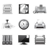 Office icons | B&W series. Set of 12 Office icons Stock Images
