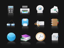 Office icons in black background Royalty Free Stock Photo